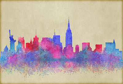 Poster featuring the digital art Watercolour Splashes New York City Skylines by Georgeta Blanaru