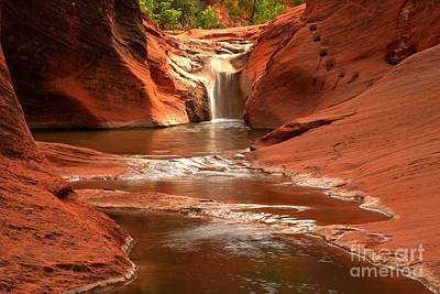 Waterfall At Red Cliffs Poster by Adam Jewell