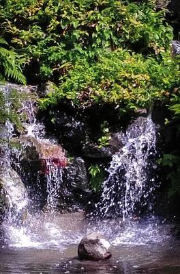 Waterfall At Wapato Park, Tacoma, Wa Poster by Linda Chambers