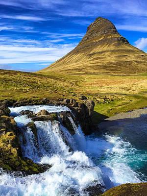 Waterfall In Iceland Kirkjufellfoss Poster