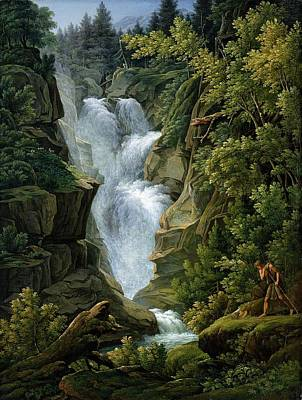 Waterfall In The Bern Highlands Poster by Joseph Anton Koch