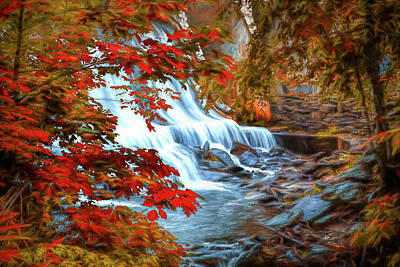 Waterfall On The Creek Poster by Randall Nyhof