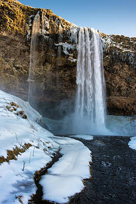 Poster featuring the photograph Waterfall Seljalandsfoss Iceland In Winter by Matthias Hauser