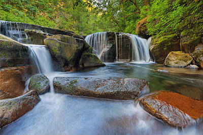 Waterfalls At Sweet Creek Falls Trail Poster