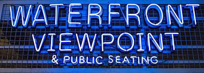 Waterfront Neon Pike Place Market Seattle Poster by Steve Gadomski