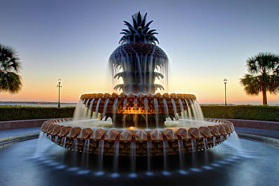Waterfront Park Pineapple Fountain In Charleston Sc Poster by Pierre Leclerc Photography