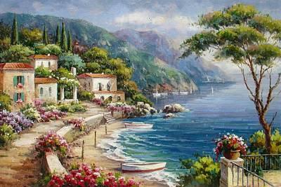 Waterfront Villas At Como Lake Poster by Lucio Campana