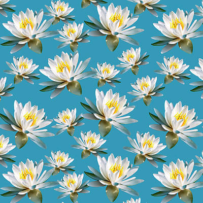 Poster featuring the mixed media Waterlily Pattern by Christina Rollo