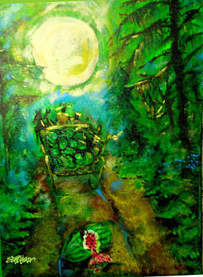 Poster featuring the painting Watermelon Wagon Moon by Seth Weaver
