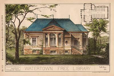 Watertown Free Library. Watertown Ma. 1884 Poster by Geo R Shaw