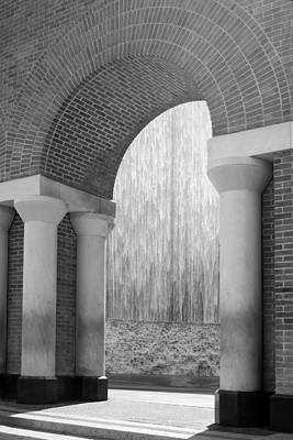 Waterwall And Arch 3 In Black And White Poster