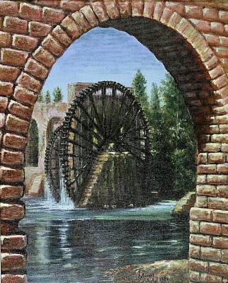 Poster featuring the painting Waterwheels  by Laila Awad Jamaleldin