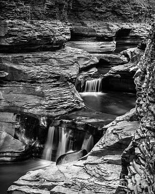 Watkins Glen Gorge Waterfall Black And White Poster by Edward Fielding