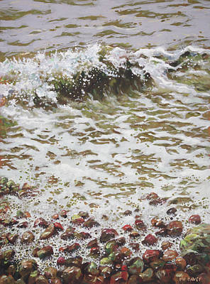 Poster featuring the painting Wave And Colorful Pebbles by Martin Davey