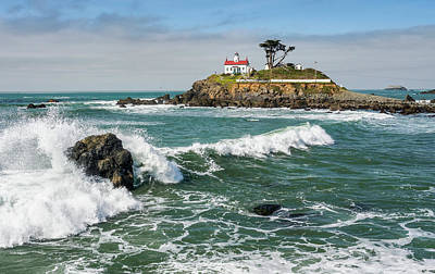 Poster featuring the photograph Wave Break And The Lighthouse by Greg Nyquist