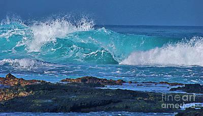 Wave Breaking On Lava Rock Poster