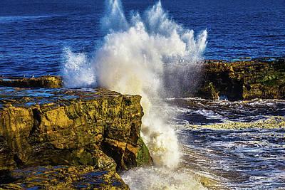 Wave Crashing Santa Cruz Poster by Garry Gay