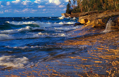 Waves Along Lake Michigan Shoreline Poster by Panoramic Images