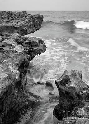 Waves And Coquina Rocks, Jupiter, Florida #39358-bw Poster