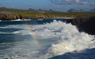 Waves And Rainbow At Clogher Poster