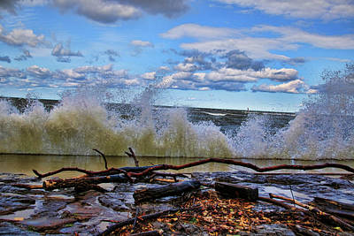 Waves And Wind On A Fall Day Poster