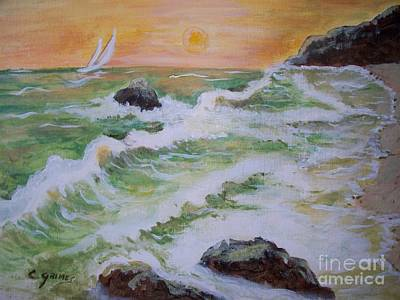 Poster featuring the painting Waves Ashore by Carol Grimes