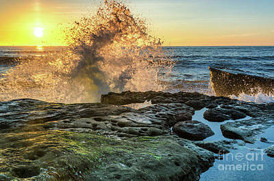 Waves At Sunset Cliffs Poster