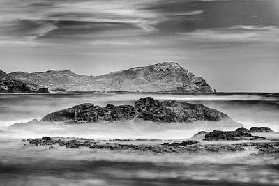 Waves At Volcanic Reef Bw Poster by Guido Montanes Castillo