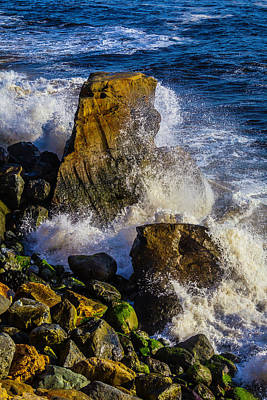 Waves Battering Rocks Poster by Garry Gay