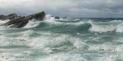 Waves Breaking On A Rocky Coast Poster by Celestial Images