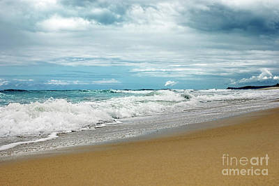 Poster featuring the photograph Waves Clouds And Sand By Kaye Menner by Kaye Menner