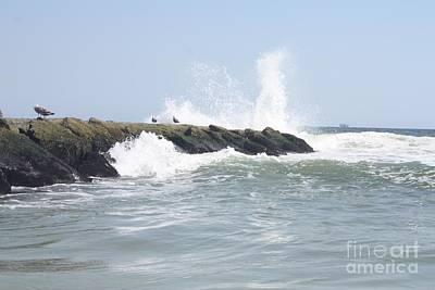 Waves Crashing Onto Long Beach Jetty Poster by John Telfer