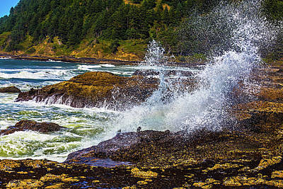 Waves Crashing Oregon Coast Poster