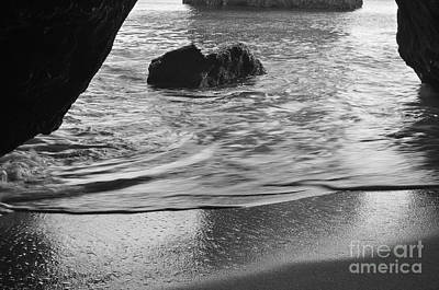 Waves From The Cave In Monochrome Poster by Angelo DeVal