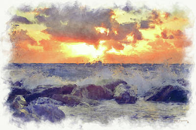 Waves Hit The Rocks Watercolor  Poster