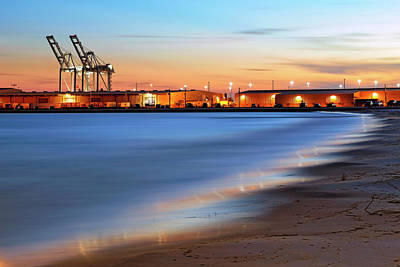 Poster featuring the photograph Waves Of Industry - Gulfport Mississippi - Sunset by Jason Politte