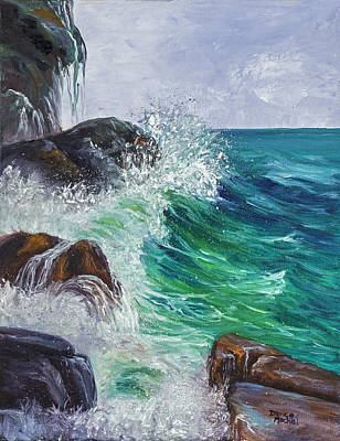 Poster featuring the painting Waves On Maui by Darice Machel McGuire