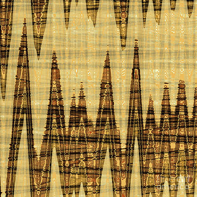 Wavy Golden Abstract Poster by Gaspar Avila