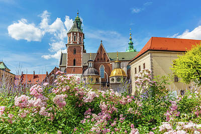 Wawel Cathedral, Cracow, Poland. View From Courtyard With Flowers. Poster