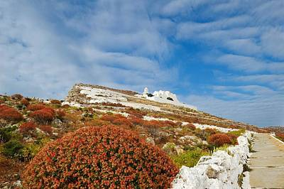 Way To The Top. Folegandros, One Of The Islands In The Cyclades Poster by Yuri Hope