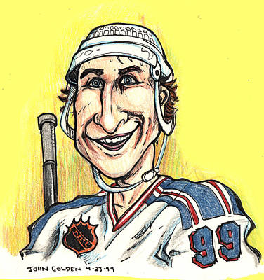 Poster featuring the drawing Wayne Gretsky Caricature by John Ashton Golden