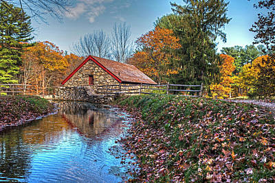 Wayside Inn Grist Mill Stream Sudbury Ma Poster by Toby McGuire