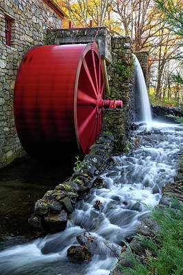 Wayside Inn Grist Mill Water Wheel Poster by Betty Denise