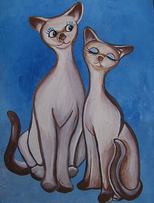 Poster featuring the painting We Are Siamese by Leslie Manley