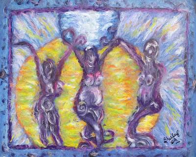 Poster featuring the painting We Three by Shelley Bain