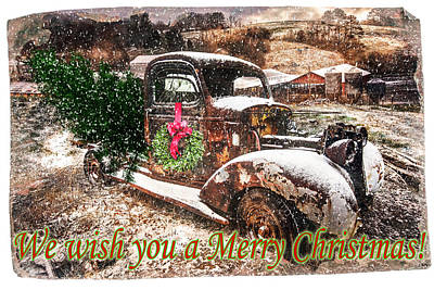 We Wish You A Merry Christmas Poster by Debra and Dave Vanderlaan