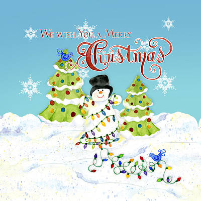 We Wish You A Merry Christmas - Snowman All Tangled Up In Lights Poster by Audrey Jeanne Roberts