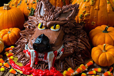 Wearwolf Cake With Pumpkins Poster by Garry Gay
