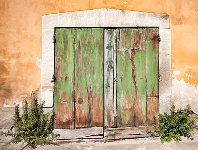 Weathered Green Door Of Tuscany Poster by David Letts