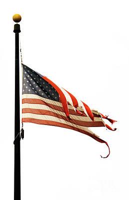 Weathered Usa Flag At Half-mast Poster
